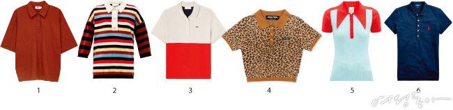 1 마치 남자 친구 옷을 빌려 입은 듯한 어깨선이 낮은 오버사이즈 핏 피케 셔츠. 몸매가 여릿여릿해 보이는 효과가 있다. 4만4천원 MMGL. 2 화이트, 블랙, 레드, 브라운 등 멀티 스트라이프 패턴에 주얼 장식 버튼을 더해 반전 매력을 뽐냈다. 30만원대 가니by매치스패션. 3 핏이 넉넉한 컬러 블로킹 피케 셔츠에 다른 컬러의 H라인 미디스커트를 매치하면 캐주얼하면서도 우아한 분위기를 연출할 수 있다. 16만9천원 라코스테. 4 피케 셔츠 특유의 클래식한 무드가 지루하다고 느껴진다면 허리 라인까지 올라오는 크롭트 디자인을 추천한다. 4만6천원 스컬프터. 5 몸에 달라붙는 니트 소재에 좁고 긴 칼라가 달린 디자인을 선택하면 목이 길어 보이면서 자연스럽게 몸매 라인까지 강조할 수 있을 듯. 40만원대 주스트리코트by매치스패션. 6 실루엣이 슬림한 디자인은 단독으로도, 재킷 안에 이너로 입어도 멋스럽다. 버튼을 두세 개 정도 풀어 시크한 분위기를 연출해도 좋을 듯! 13만9천원 폴로랄프로렌.