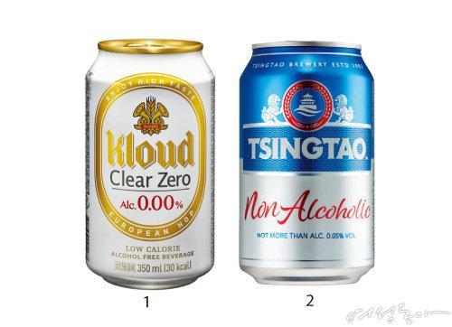 1 '클라우드 클리어 제로'는 알코올 함량 0.00%에 당류 0g, 30kcal의 무알코올 맥주로 숙취 없이 가볍고 산뜻하게 즐길 수 있다. 2 '칭따오 논알콜릭'은 칭따오 브루어리 공법의 마지막 공정 단계에서 알코올만 날리고 2배 이상의 몰트를 첨가해 오리지널 라거 맥주 본연의 맛을 그대로 구현했다.