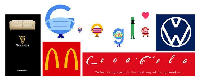 글로벌 브랜드가 선보인 '사회적 거리두기' 버전의 로고. [맥도날드 페이스북, 코카콜라 트위터, 기네스 공식 홈페이지, 폭스바겐 공식 홈페이지, 시트로앵 공식 홈페이지, 구글 공식 홈페이지.]