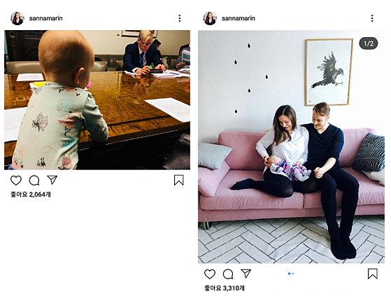 국회의원 시절 출산한 산나 마린 총리는 아이와 함께 의회에 등원하기도 했으며 인스타그램을 통해 육아 등 개인적 삶의 모습을 공유한다.