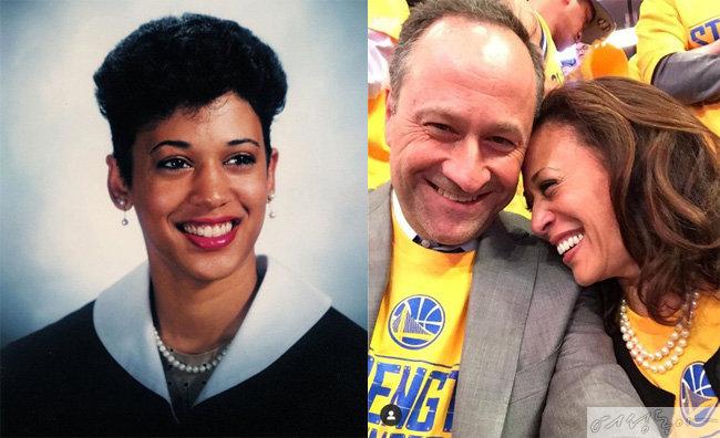대학 시절 해리스 의원. 이때부터 진주를 시그니처 아이템으로 활용했다(왼쪽). 해리스 의원 부부. 남편은 변호사로 활동 중이다.