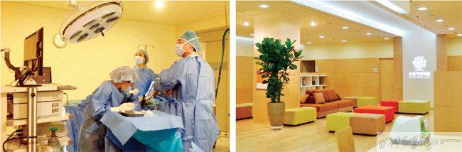 복강경을 통해 자궁근종 제거술을 하고 있다. 수목여성의원 실내 전경.
