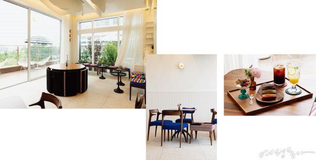 (왼쪽부터)요즘 찾아보기 힘든 색동 원단으로 방석과 의자 커버를 만들어 카페 공간을 근사하게 꾸몄다. 가구에 맞춰 벽에는 놋그릇을 모티프로 제작한 조명을 달았다. 휘낭시에 같은 디저트와 에이드, 커피 등 맛 좋은 메뉴도 인기다.