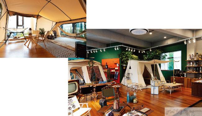카페 안에 디스플레이된 텐트 안을 자유롭게 드나들며 생생하게 캠핑 용품을 체험할 수 있다.