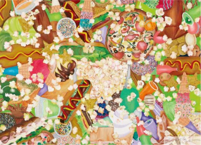 영화관 먹거리 910×655mm_Acrylic on canvas, 2020, 강선아