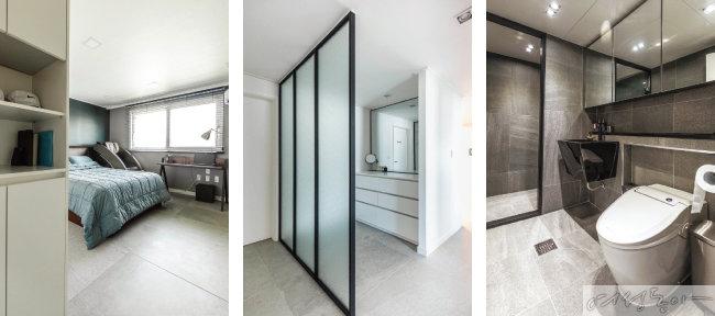 부부 침실은 숙면과 휴식을 위해 최소한의 물건들로 깔끔하게 꾸몄다(왼쪽부터).  부부 침실과 욕실 사이에 유리 파티션으로 공간을 분리해 파우더룸을 새롭게 마련했다.  연한 그레이 컬러 타일로 시공한 욕실. 거울 도어 수납함으로 공간이 한결 넓어 보인다.
