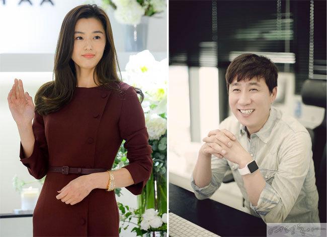 전지현(왼쪽)과 전지현이 살던 집을 1백30억원에 사들인 심명섭 전 위드이노베이션 대표.