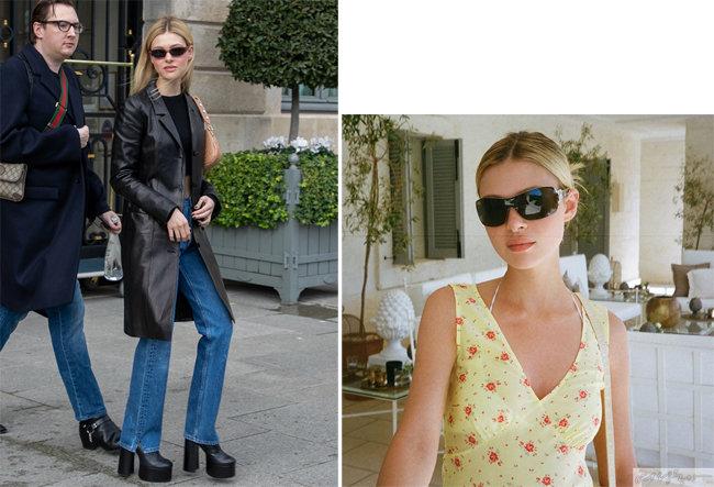 가죽 블레이저와 데님 팬츠, 선글라스는 니콜라 펠츠가 가장 즐기는 패션 조합(왼쪽).  빈티지한 플라워 패턴 드레스도 사랑스럽게 소화한다.