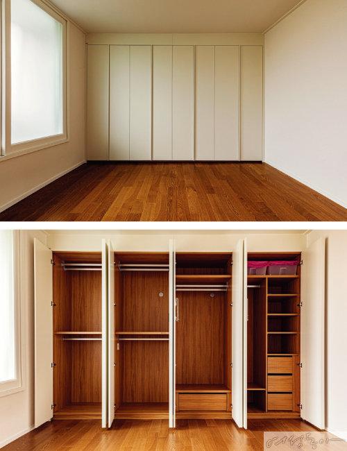 안방의 수납장은 외부는 벽 컬러와 통일시키고, 내부는 바닥재 컬러와 통일 시켜 깔끔하고 넓어 보이는 효과를 주었다.