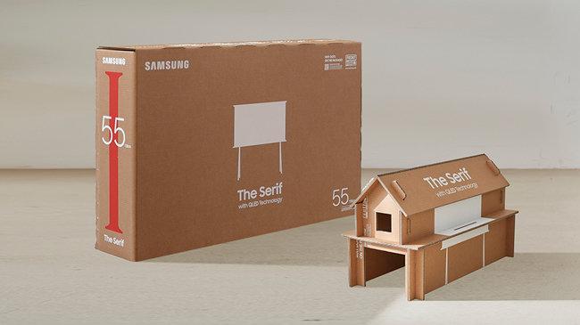 포장재에 업사이클링 개념을 적용해 재미있게 조립할 수 있도록 만든 더 세리프 TV 에코 패키지.