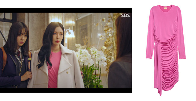 핫 핑크 드레이프 드레스, 7만9천원, H&M.