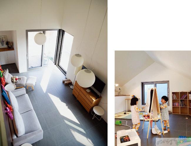 층고가 높아 답답함이 없는 실내(왼쪽). 다락방은 이젤과 장난감을 놓아 아이들 놀이 방으로 사용하고 있다.