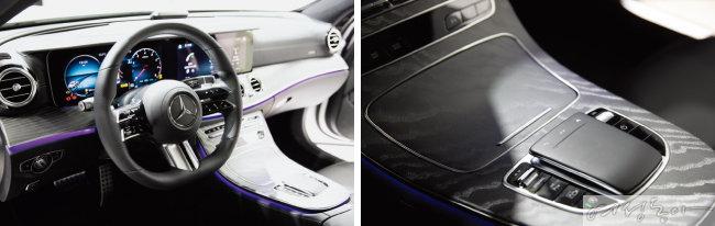 D컷 형태의 디자인이 적용된 스티어링 휠.  스포크에 주요 기능을 조작할 수 있는  버튼을 모아 운전자 편의성을 높였다(왼쪽).  나뭇결이 살아 있는 블랙 톤의  우드 트림이 고급스러운 느낌을 준다.