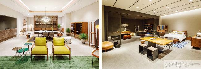 나무에 대한 사랑을 토대로 가구를 만드는 '포라다'의 쇼룸(왼쪽).  4층에는 3대째 목재 가구를 제작하는 '리바1920'을 만날 수 있다.