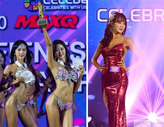 세 모녀의 머슬 대회 참가 모습. 왼쪽부터 송서윤, 송서현, 유효숙 씨.