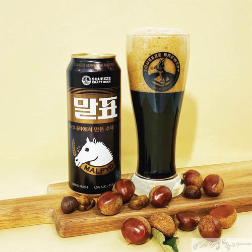 진한 초콜릿, 에스프레소 향과 밤 향을 첨가한 달콤한 맥주로, 흑맥주 덕후들의 열렬한 지지와 사랑을 받고 있는 말표 흑맥주. 말표산업×CU.