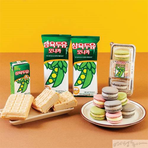 롤케이크, 호빵, 마카롱, 과자, 아이스크림 등 다채로운 변신을 시도하고 있는 삼육두유. 삼육두유×CU.
