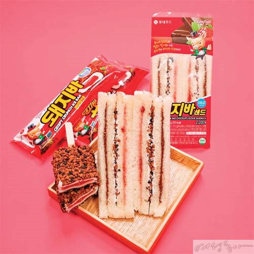 시그니처인 초코 크런치와 딸기잼을 듬뿍 담고, 연유 크림과 코코아 매스를 겹겹이 바른 돼지바 샌드. 롯데푸드×세븐일레븐.