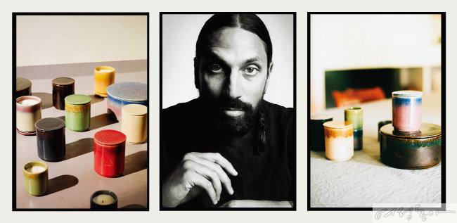 이케아와 바이레도의 협업으로 탄생한 캔들 컬렉션. 가운데가 바이레도의 크리에이티브 디렉터 벤 고햄이다.