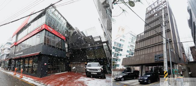 서울 강남구 신사동에 위치한 손예진 빌딩(왼쪽). 서울 강남구 청담동에 자리한 현빈 건물.