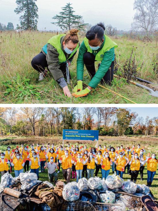 영국 런던 ASEZ WAO 회원들이 잉글랜드 서리주의 엡솜 지역에서 기후변화 대응을 위한 'Mother's Forest(어머니의 숲 조성)' 프로젝트로 105그루의 나무를 심었다(위). 미국 워싱턴 D.C. ASEZ WAO 회원들이 No More GPGP 프로젝트의 일환으로 애너코스티아강 일대 환경정화활동을 전개했다.