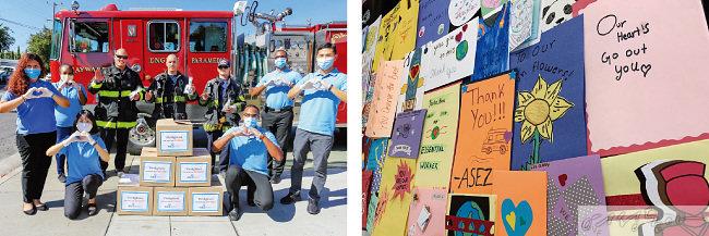 미국 샌프란시스코 ASEZ WAO 회원들이 소방관들의 노고에 고마움을 전했다(왼쪽). 미국 샌디에이고 ASEZ 회원들이 병원 의료진을 위해 작성한 응원편지들.
