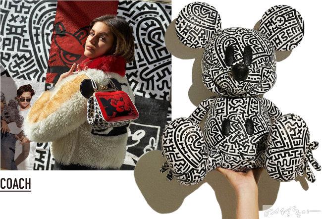 코치의 '미키 마우스×키스 해링'  컬렉션. 재킷, 백, 스웨트셔츠 등  다채로운 아이템으로 선보였다.