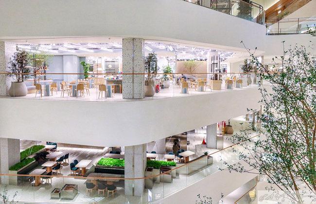 천장을 유리로 만들어 건물 전체가 자연 채광에 노출되는 '보이드(void)' 건축 기법을 택했다.