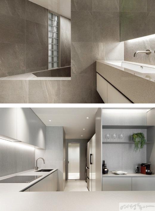 계단 겸 벤치 기능이 있는 욕조는 안방 욕실의 포인트다(위).  기존에 있던 메인 주방과 보조 주방을 나누는 문을 제거하고 통로로 이어지게 만들어 답답했던 공간을 개방감 있게 만들었다.
