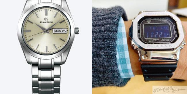 그랜드 세이코 시계(왼쪽). 지샥 시계.