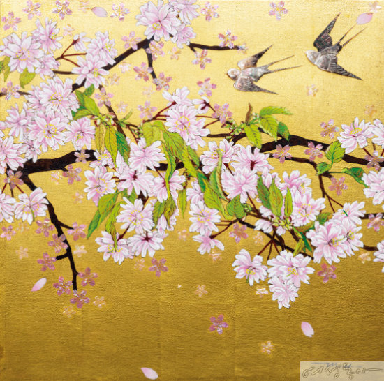 지난 3월에 전시했던 친정 엄마 오명희 교수의 작품. Zenith, 2020, gold leaf, Japanese dye on canvas, mother of pearl.