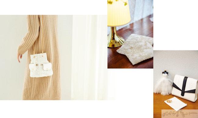 웨딩드레스를 업싸이클링해 만든 코햄체  제품.  가방, 파우치로 제작된다.