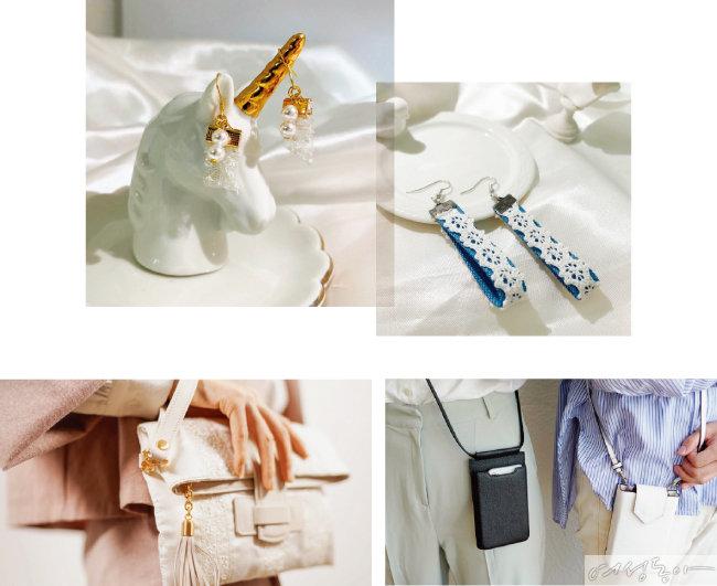 웨딩드레스의 장식은 액세서리로 재탄생된다. 가방엔 친환경 한지 가죽을 덧대 완성한다.