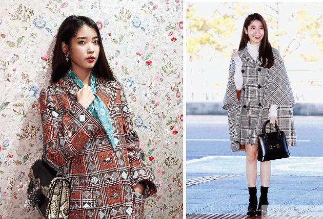 (오른쪽)밀라노에서 열렸던 구찌 2020 F/W 패션쇼 관람을 위해 출국하던 아이유의 모습. 구찌 케이프 코트와 가방, 펌프스를 찰떡 매치해 '구찌 요정'이라는 별명을 얻었다.
