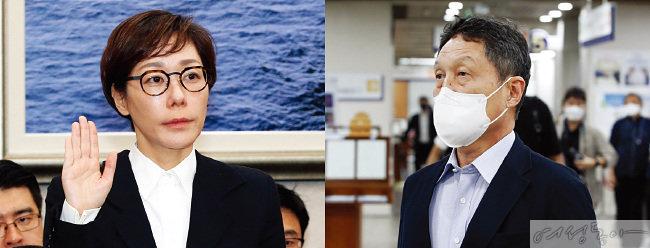 2014년 국정감사에 출석한  구지은 대표이사(왼쪽).  지난 6월 3일 서울중앙지방법원에서 열린 보복 운전 관련 1심 선고 공판에 참석한 뒤 청사를 나서는 구본성 전 부회장.