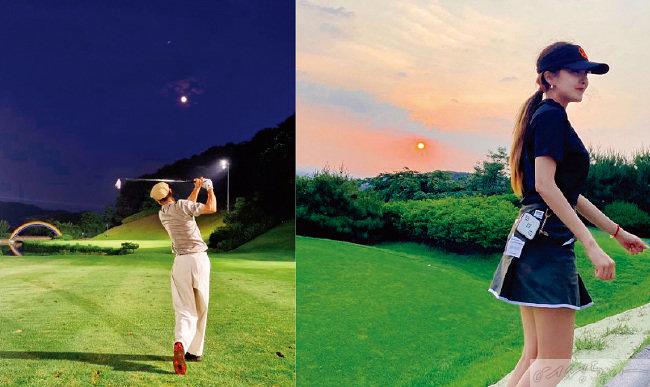 야간 골프 중인 배우 배정남과 가수 효민(오른쪽).