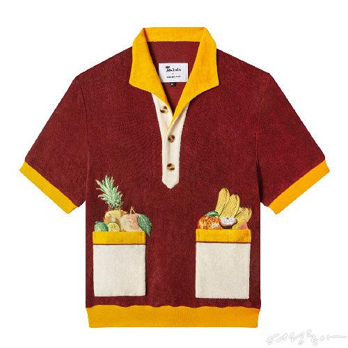 열대 과일 자수가 눈길을 사로잡는 오가닉 테리 소재 하와이안 셔츠. 짧은 데님스커트나 트로피컬 패턴의 팬츠를 매치하면 바캉스 룩으로 손색없다. 10만원대 톰볼로.