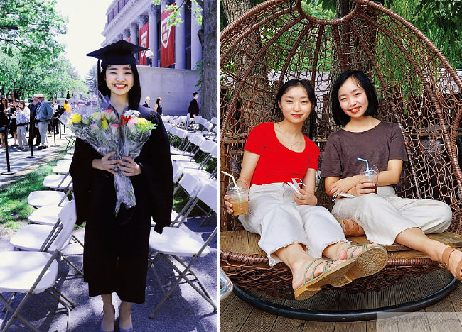 큰딸 윤소현 씨의 하버드대 졸업 모습(왼쪽). 웃는 모습이 붕어빵처럼 닮은 작은딸 윤지연 씨와 큰딸 윤소현 씨.