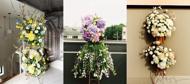 축하 화환 'Protea' 드레스 화환 'Bongacious Dress' 근조 화환 'Heart'(왼쪽부터)