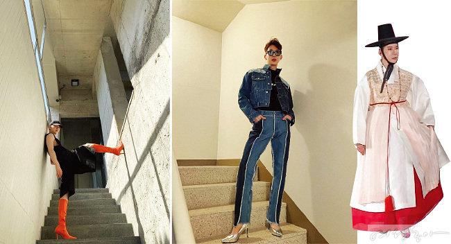 하이힐과 스커트 스타일링을 즐기는 조권. 지난 5월 한 패션쇼에서는 한복 치마에 도포를 입고 무대에 섰다.