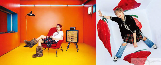 체크 스커트를 입은 BTS 지민과 NCT 드림 천러.