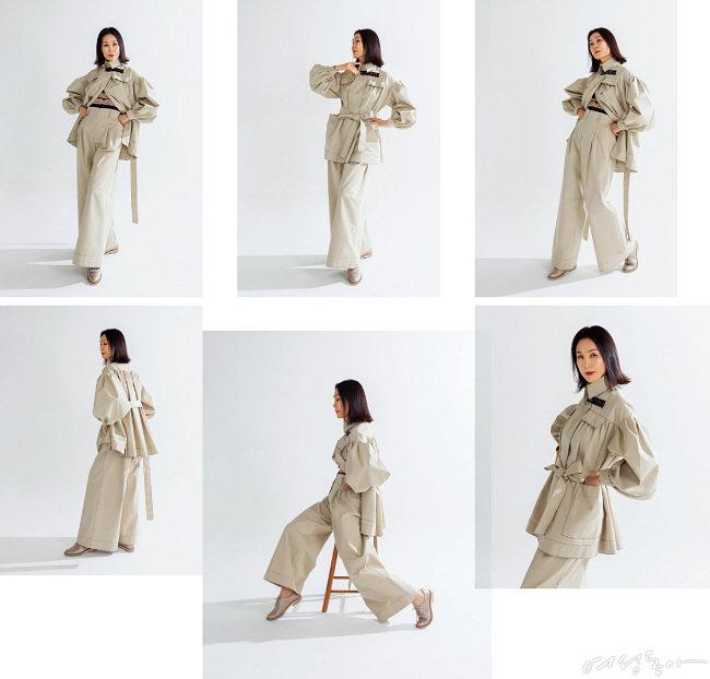 설영희 디자이너가 선물한 의상을 입고 다양한 포즈를 취하고 있는 김동수.  모델계의 전설답게 카메라 셔터가 터질 때마다 근사한 포즈를 다채롭게 연출했다.