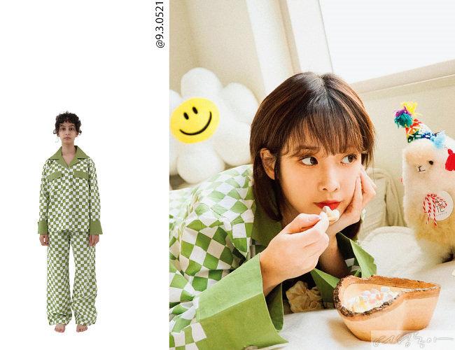연두색 체크 패턴의 언플러그 파자마 세트를 선택한 러블리즈 유지애. 칼라, 상의 포켓, 팔목 부분 그린 컬러 포인트로 입고 보는 재미가 있다.