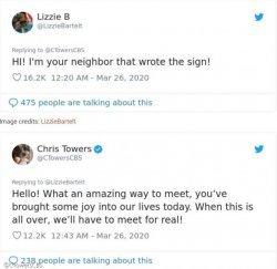 자가격리 중 이웃이 창문으로 전한 메시지