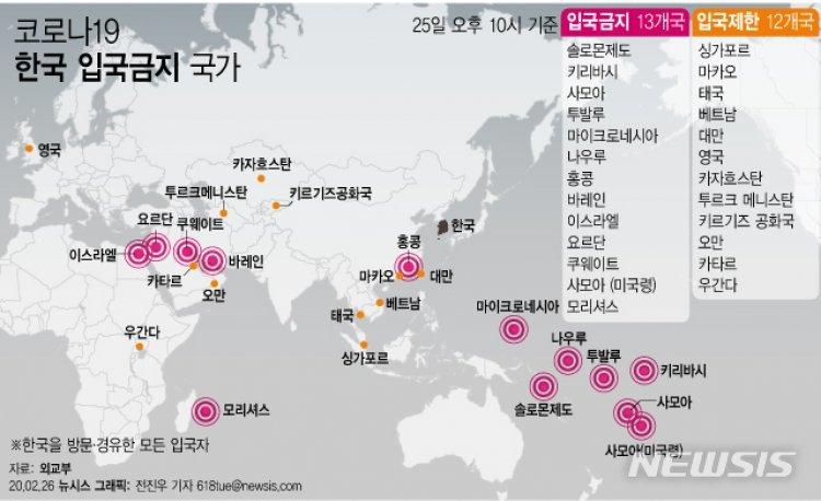 '한국발 입국 제한' 총 25개국…여행경보 발령도 늘어