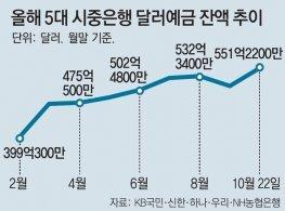 """""""달러 쌀때 사두자""""… 달러예금 한달새 4조6000억원 늘어"""