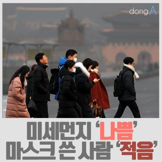 [카드뉴스]미세먼지 '나쁨', 마스크 쓴 사람 '적음'