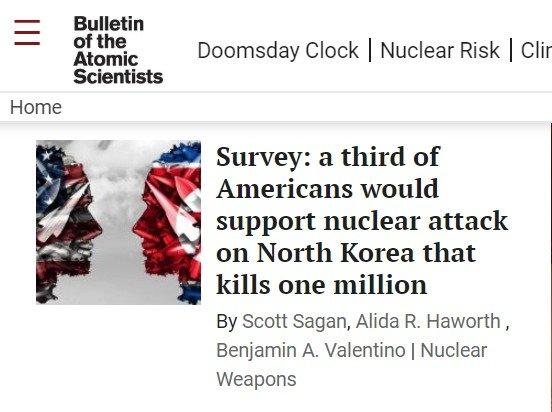 """""""백만명 죽어도 상관없다""""…미국인 33%, 北 핵공격 찬성"""