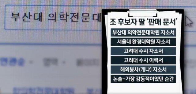 조국 딸, 본인 자기소개서 온라인에 올려 판매