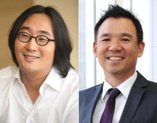 허민 원더홀딩스 대표(왼쪽)-김정주 NXC 대표.